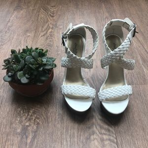 White Strap Up Wedges